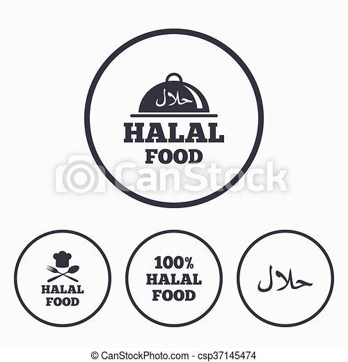 naturale, cibo, simbolo., icons., halal, pasto - csp37145474