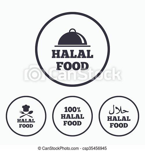 naturale, cibo, simbolo., icons., halal, pasto - csp35456945