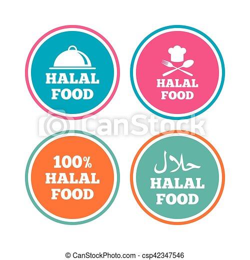 naturale, cibo, simbolo., icons., halal, pasto - csp42347546