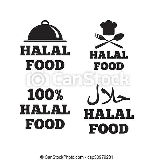 naturale, cibo, simbolo., icons., halal, pasto - csp30979231