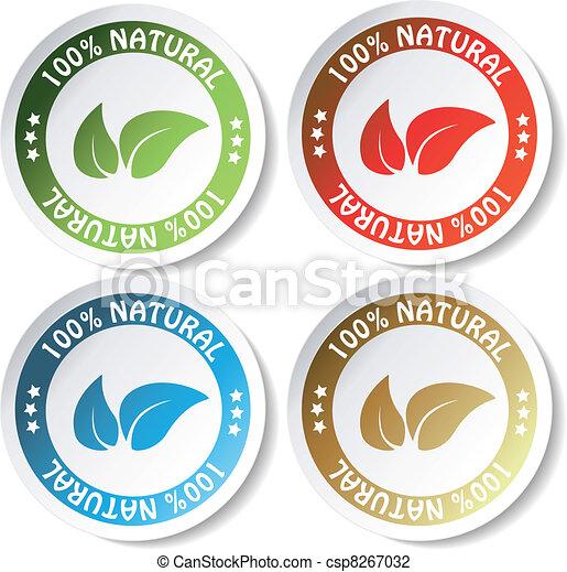 naturale, vettore, adesivi - csp8267032