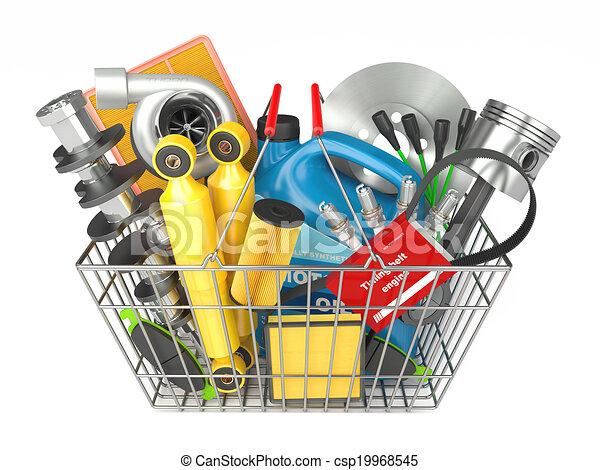 negozio, auto, parti, automobilistico, cesto, store. - csp19968545