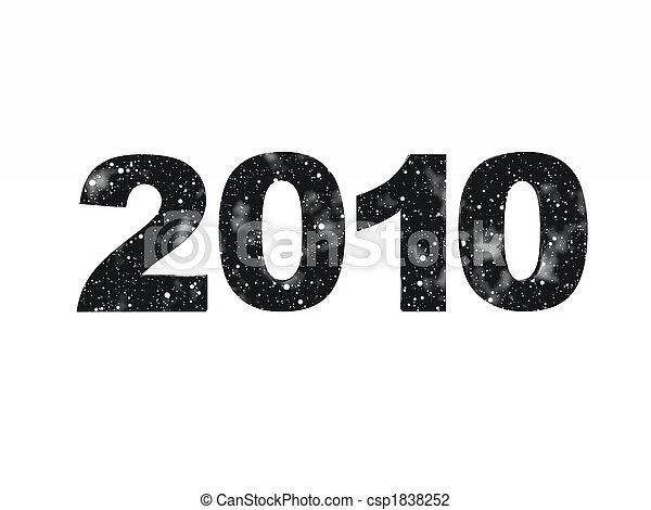 nero, 2010, stelle, anno - csp1838252