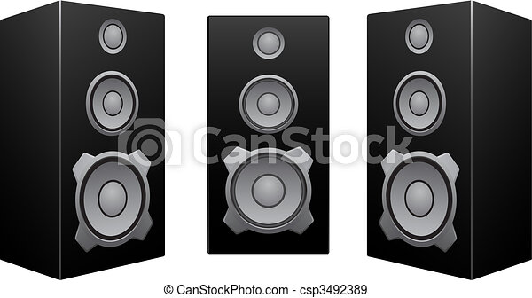 nero, bianco, altoparlante, fondo - csp3492389