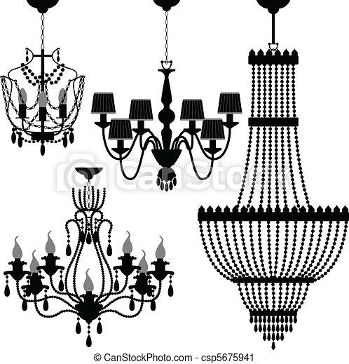 nero, candeliere, silhouette - csp5675941