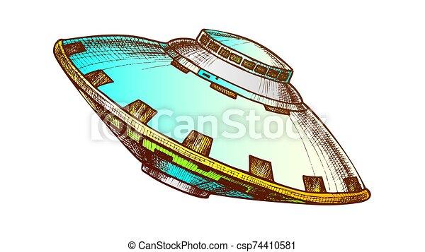 non identificato, volare, vettore, oggetto, colorare, ufo - csp74410581