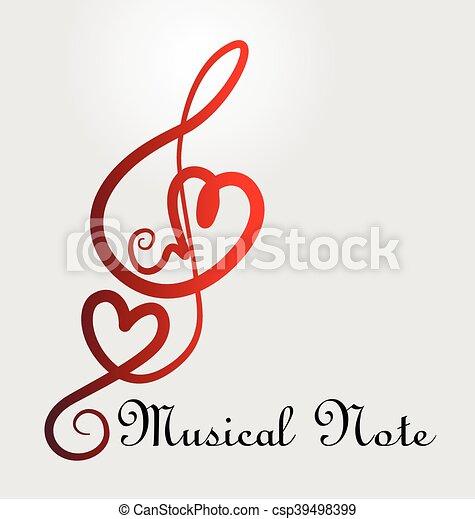 nota musicale, cuori - csp39498399