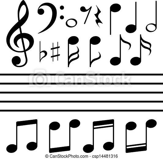 nota, set, vettore, musica, icone - csp14481316
