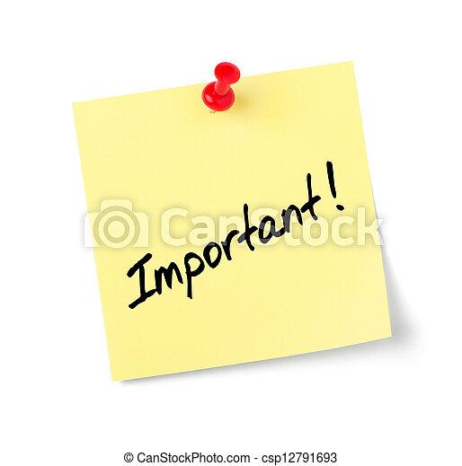 nota, testo, importante, carta, giallo - csp12791693