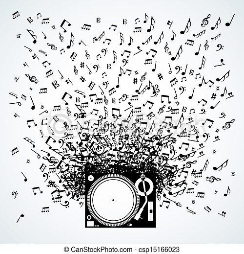 note musica, disegno, isolato, piattaforma girevole - csp15166023