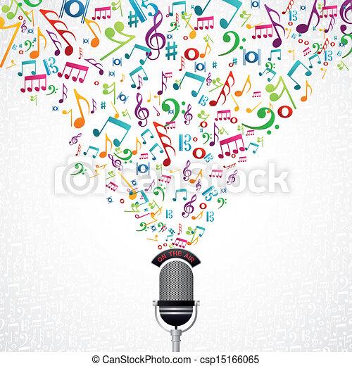 note musica, disegno, microfono - csp15166065