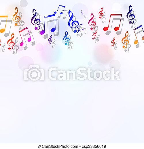 note, musica, luminoso, fondo - csp33356019