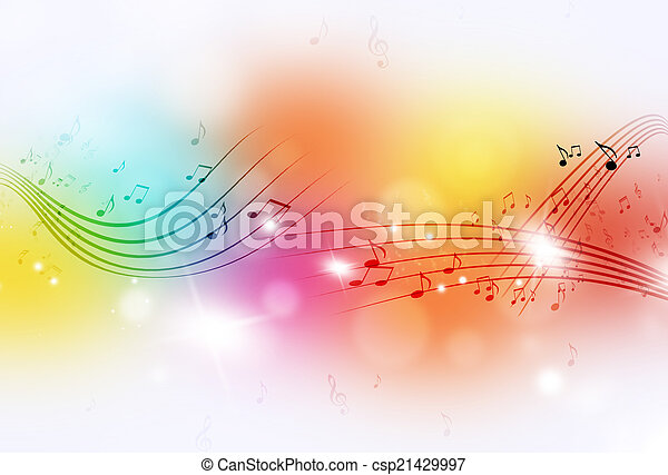 note, musica, multicolor, fondo - csp21429997