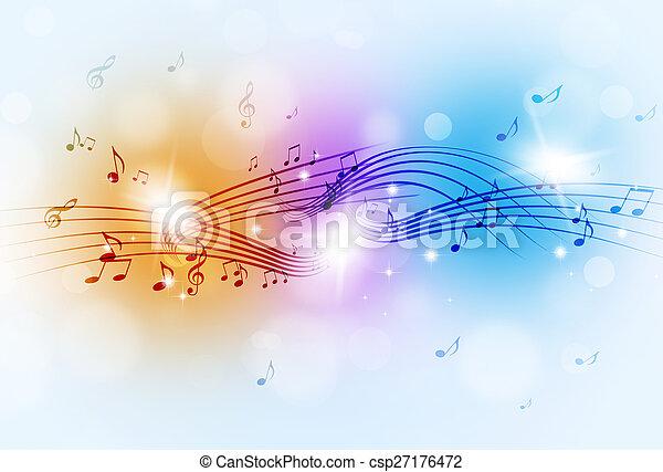 note, musica, multicolor, fondo - csp27176472
