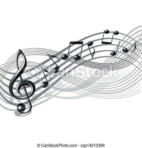 note, personale, white., fondo, musicale - csp14210399