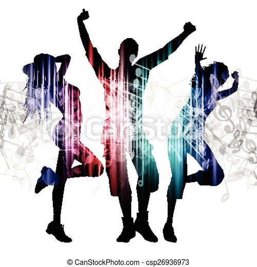 note, persone, musica, fondo, ballo - csp26936973