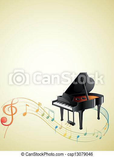 note, pianoforte, g-clef, musicale - csp13079046