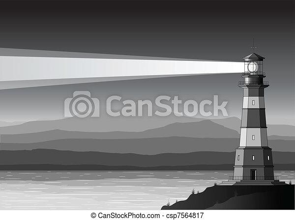 notte, faro, paesaggio, dettagliato, montagne, mare - csp7564817