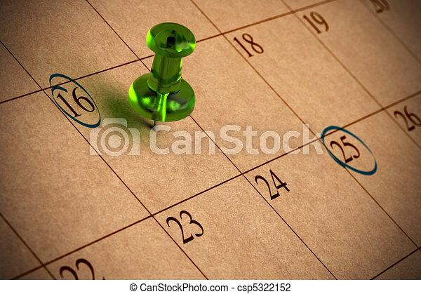 numeri, thumbtack, carta, riciclato, calendario, verde - csp5322152