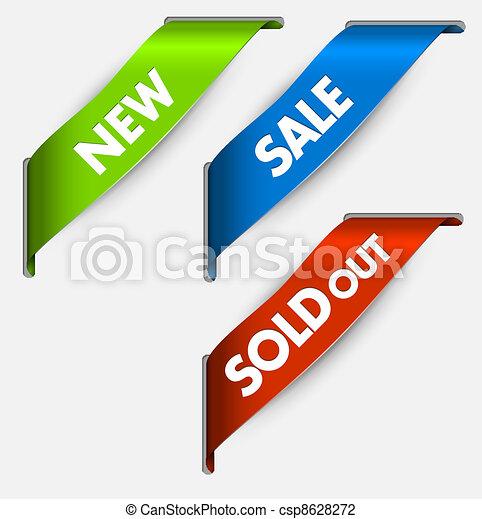 nuovo, articoli, venduto, nastri, vendita, angolo, vettore, fuori - csp8628272