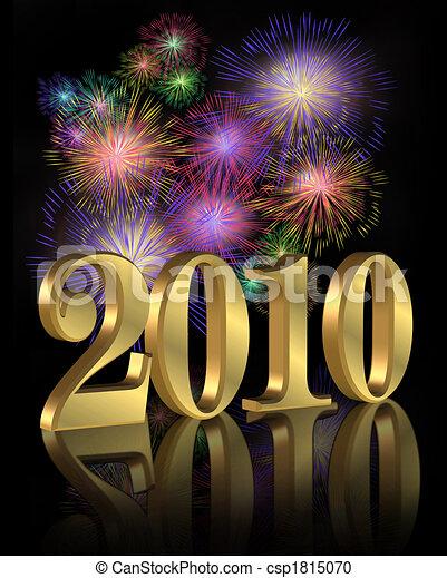 nuovo, fireworks, 2010, anno - csp1815070
