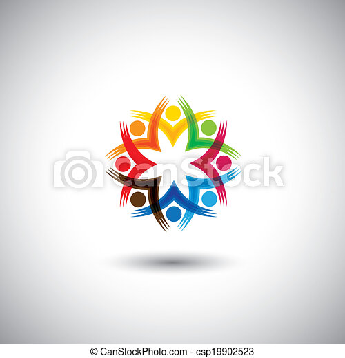 o, gioco, felice, anche, -, lavorante, riunioni, motivato, vettore, bambini, personale, eccitato, graphic., rappresenta, amicizia, bambini, comunità, unione, persone, illustrazione, studenti, gruppo, questo - csp19902523