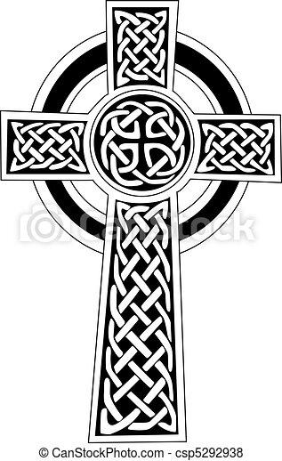 o, simbolo, arte, -, celtico, tatuaggio, croce - csp5292938