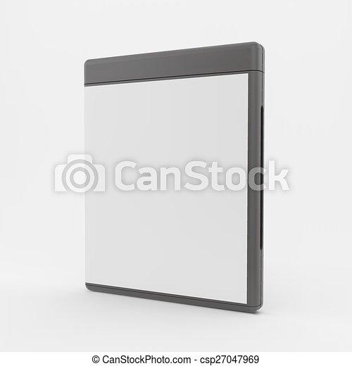 o, vettore, cd-case., vuoto, illustration., dvd-case, 3d - csp27047969