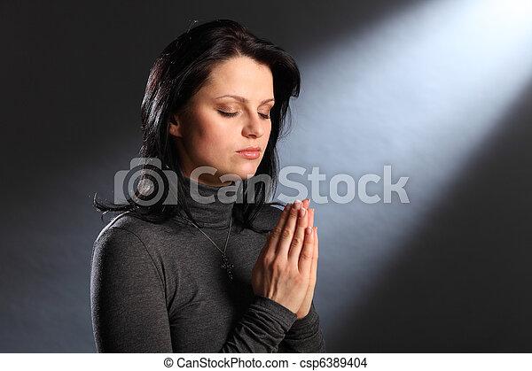 occhi, donna, giovane, religione, momento, chiuso, preghiera - csp6389404