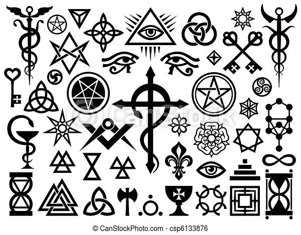 occulto, francobolli, magia, medievale, segni - csp6133876