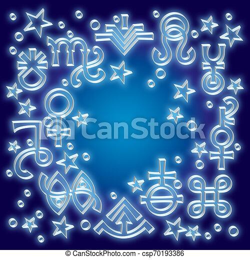 occulto, mistico, symbols., astrologico, brano, diadema, un po', modello, stars., celestiale, fondo, segni, stampato in rilievo, argento, recente - csp70193386