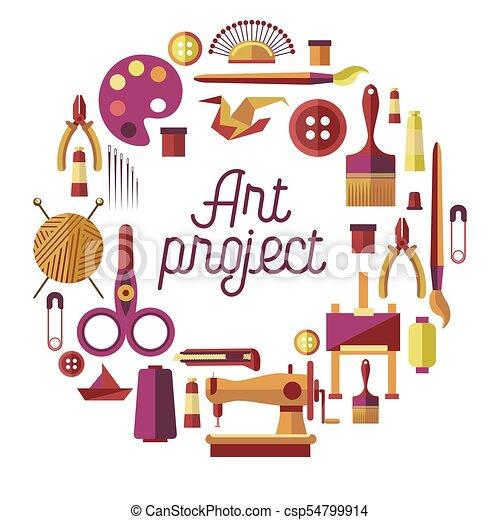 officina, vettore, arte, manifesto, fatto mano, creativo, progetto, mestiere, bricolage, artigianato, classi - csp54799914