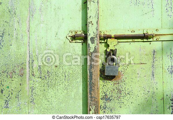 oggetto antiquariato vecchio, vendemmia, sbloccando, chiave, porta, fesso, o - csp17635797