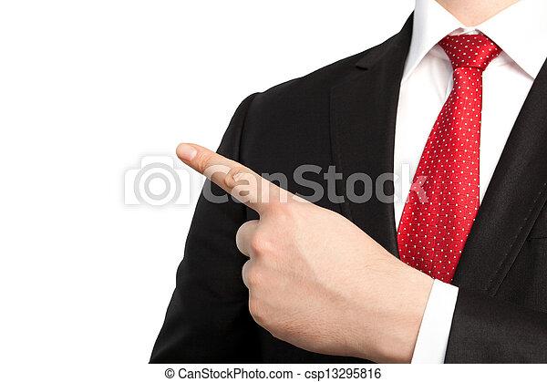oggetto, isolato, uomo affari, punti, dito, completo, cravatta, rosso - csp13295816