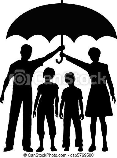 ombrello, rischio, famiglia, genitori, presa a terra, sicurezza, assicurazione - csp5769500