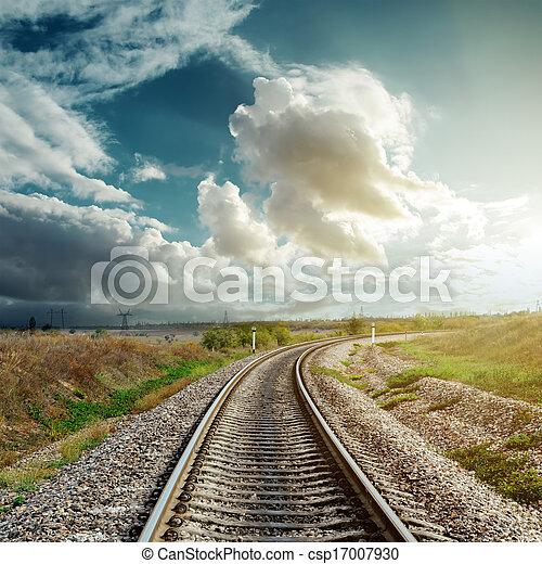 orizzonte, ferrovia, va, nuvoloso - csp17007930
