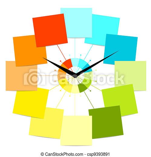 orologio, testo, creativo, disegno, adesivi, tuo - csp9393891