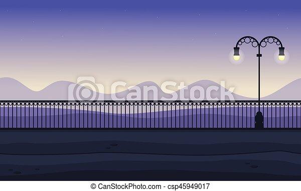 paesaggio, fondo, collina, collezione - csp45949017