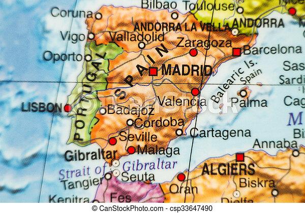 Malaga Spagna Cartina.Paese Spagna Mappa Mappa Capitale Foto Spagna Madrid Canstock