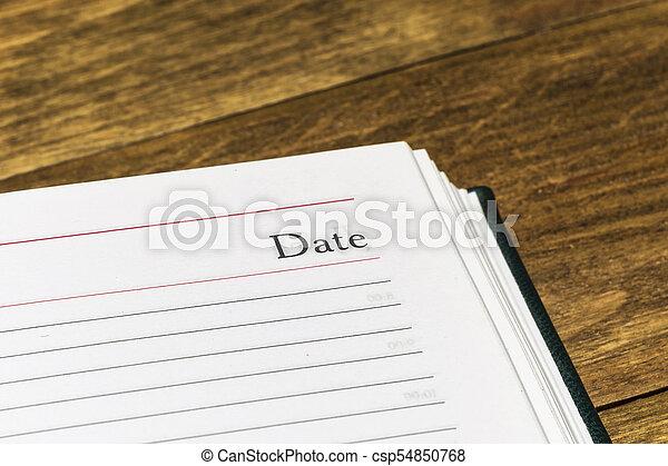 pagina, parola, primo piano, data, calendario, aperto - csp54850768
