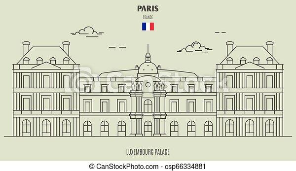 palazzo, france., punto di riferimento, lussemburgo, icona, parigi - csp66334881