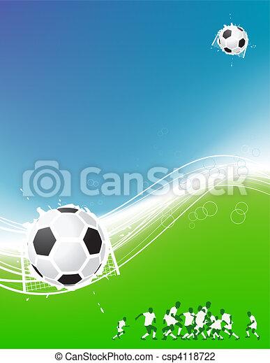 palla, campo, giocatori football, fondo, calcio, tuo, design. - csp4118722