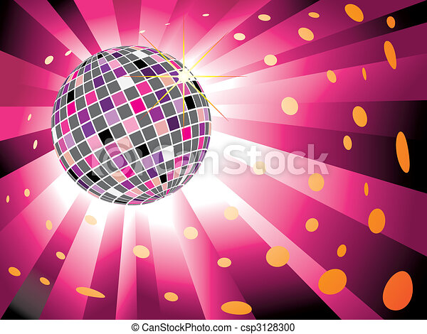 palla, scoppio, luce, sfavillante, discoteca, fondo, magenta - csp3128300