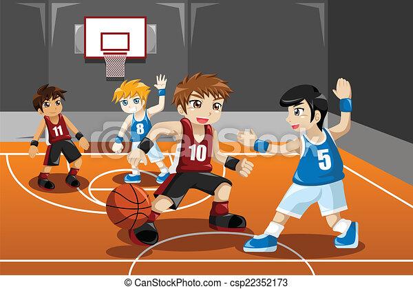 pallacanestro, gioco, bambini - csp22352173