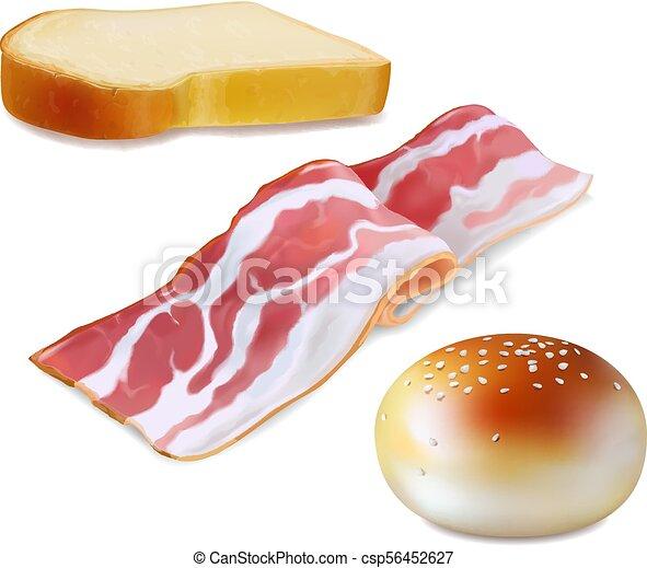 pancetta affumicata, illustrazione, realistico, icon., colazione, bread - csp56452627