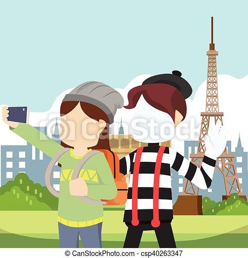 pantomim, ragazza, selfie - csp40263347