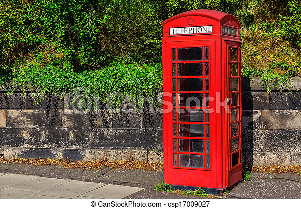 Parco Cabina Telefonica Inglese Rosso Tipico Tipico Parco Telefono Britannico Cabina Canstock