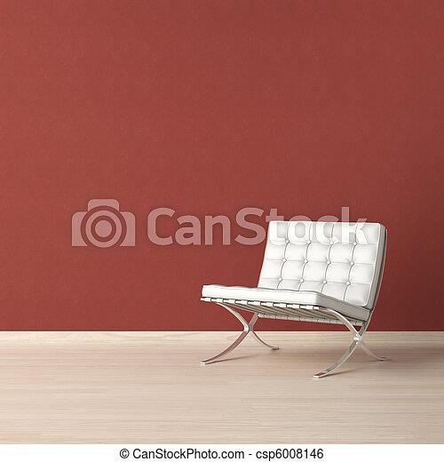 parete, bianco, sedia, rosso - csp6008146