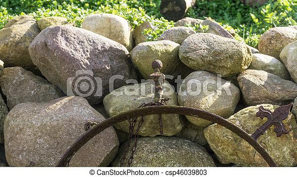 parete, campo, pietra, sole, giardino - csp46039803