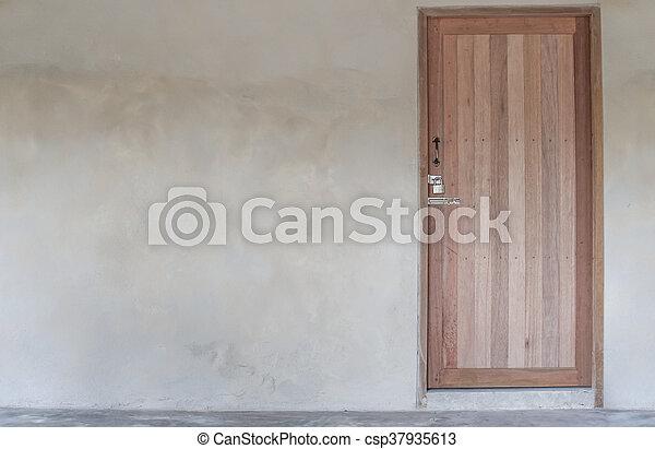 parete, casa, vecchio, porta, legno - csp37935613
